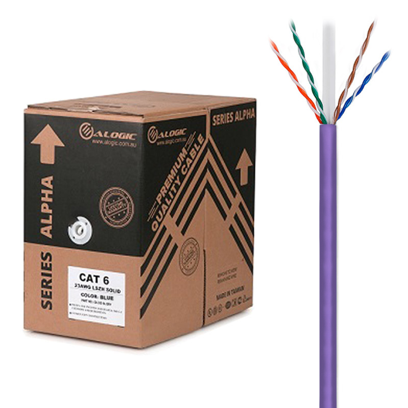 ALOGIC 305m 23AWG Purple  PVC Solid CAT6 Network Cable - U-UTP / 4 Pair